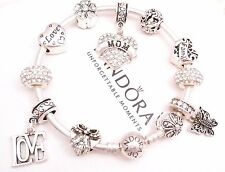 Authentic Pandora Silver Charm Bracelet with European Charms White Love Mom Gift