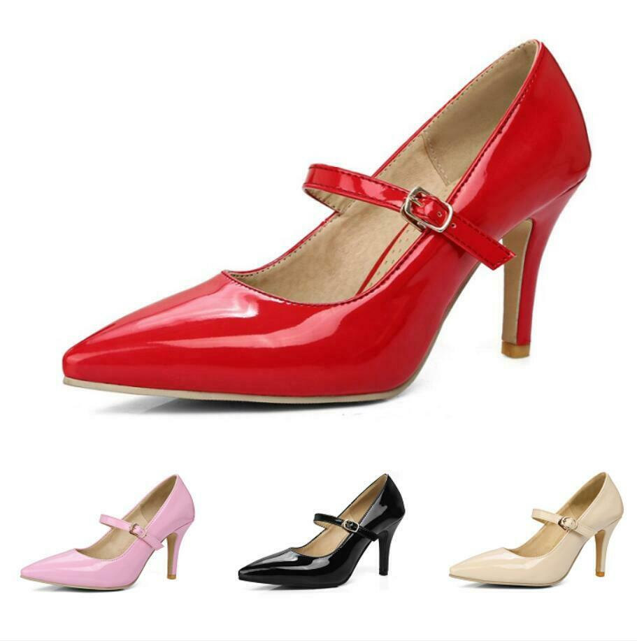 Women's Mary Janes Dinner Cocktail Ankle Strap 8CM Heel Pointy Toe Shoes 34/54 D