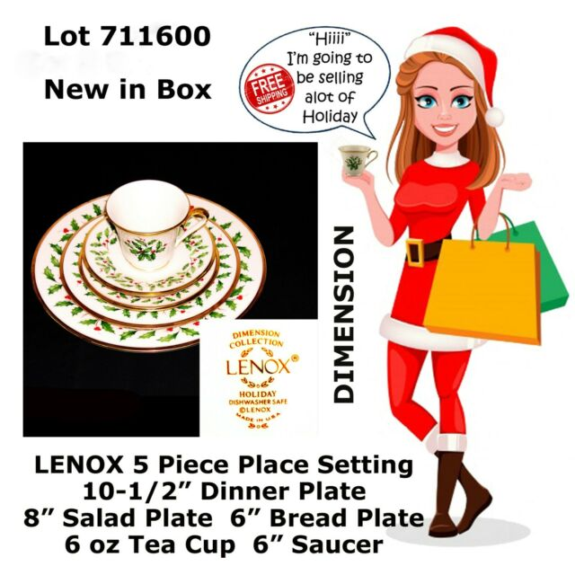 "LENOX HOLIDAY ""DIMENSION"" HOLLY BERRY CHINA 5 Piece Place Setting NIB 711600"