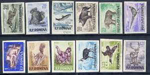 ROMANIA-1956-Game-Animals-imperorate-set-in-changed-colours-MNH