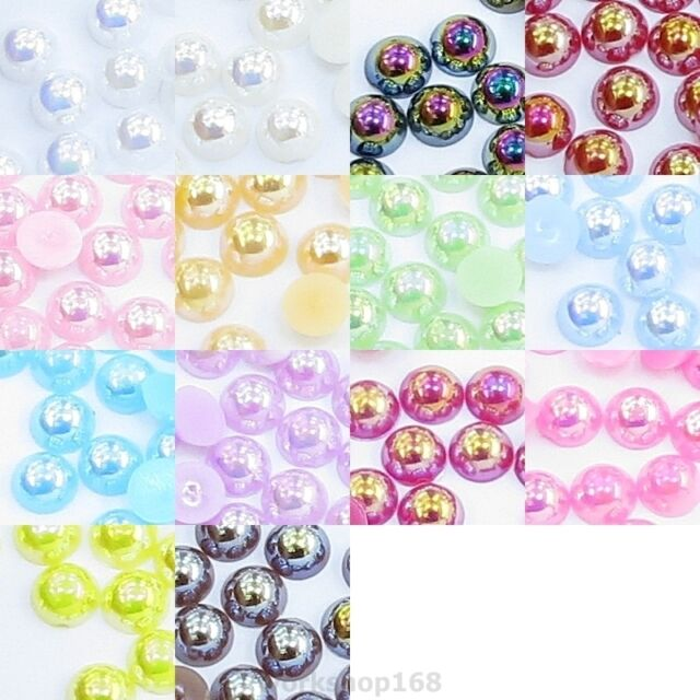 1000 Flat Back Acrylic Pearl Gems 1.5mm 2mm 3mm 4mm 5mm 6mm Iridescent PL00AH AB