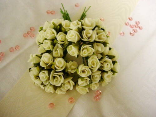 48 roses foamrosen 2 CM MARIAGE F Mariage agrafe décoration de table streudeko crème