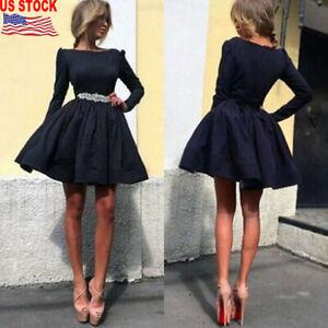 Fashion-Women-Formal-Prom-Party-Clothes-Long-Sleeve-Mini-Short-Slim-Tutu-Dress