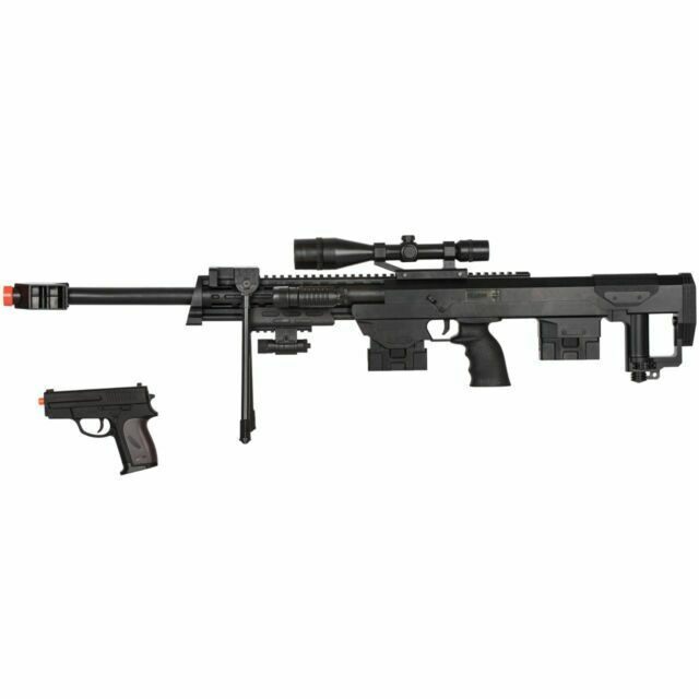 Broken Uk Arms P1050 Airsoft Bb Gun Spring Powered Sniper Rifle Black Bi Pod For Sale Online Ebay