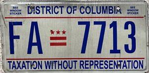 Washington DC Taxation Without Representation American License Plate FA 7713