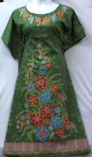 Plus Size Women Vintage Boho Long Maxi Evening Summer House Cotton Dress Green