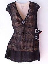 NEW~Miracle Suit~Black Lace & Beige Victorian Blouse Shirt Top~8/10/M/Medium