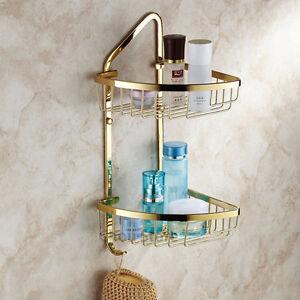 Gold polished brass double deck corner shelf wall mount storage basket holder ebay for Corner shelves for bathroom wall mounted