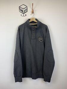 FAT-FACE-Size-XL-Grey-Crest-Logo-1-4-Button-Pullover-Sweatshirt-EX-COND
