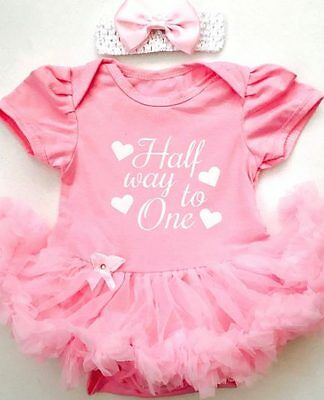 Half Way To One Birthday White BABY PINK TUTU ROMPER Princess Party Cake Smash