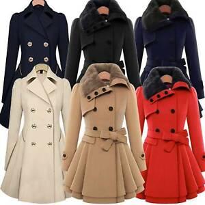 Women Ladies Fur Collared Winter Long Peacoat Coat Trench Outwear Jacket Dress