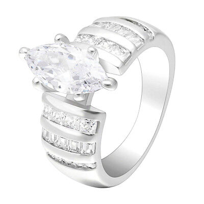 Marquise White CZ Solitaire Wedding Ring Set 925 Sterling Silver Band Sizes 5-10