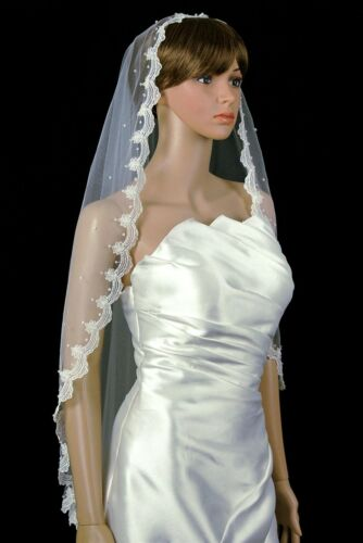Bridal Mantilla Veil Ivory 1 Tier Fingertip Length Lace Edge With Crystals