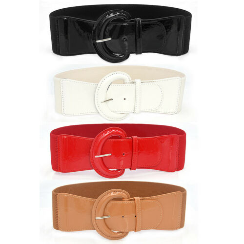 Womens Pins Waist Belt PU Patent Leather Wide Belt Plus Size Decorate Waistband