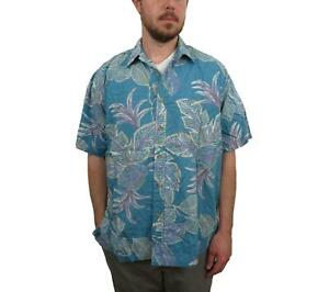 VINTAGE-Cooke-Street-Mens-REVERSE-PRINT-Hawaiian-Shirt-Large-Floral-Button-Down