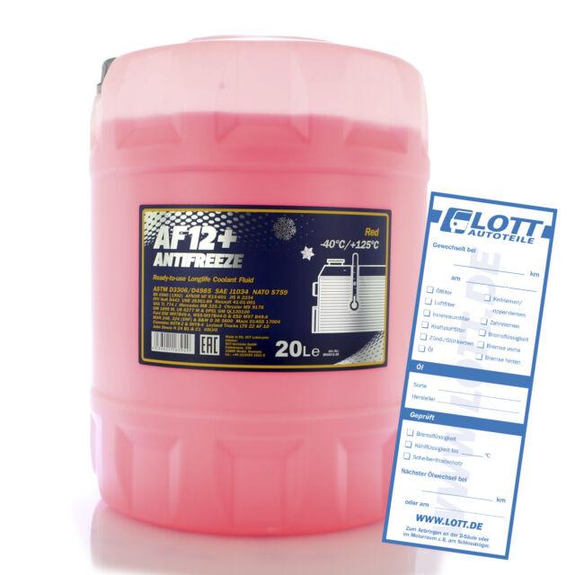 Mannol Antifreeze G12+ Kühlerfrostschutz 20L Rot AF12+ bis - 40°C für AUDI VW