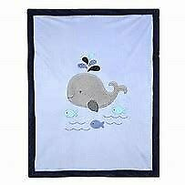 NWT Koala Baby Navy Blue Gray Whale And Fish Velour Sherpa Fleece Minky Blanket