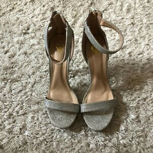Vintage Womens Shoes Silver Sparkle Strappy Heels Pumps High Heel Size 7