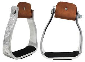 Western Show Horse Saddle Stirrups Engraved Sloped Angle Aluminum Bell 5140