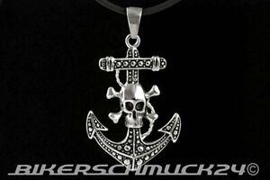 Biker Schmuck Pirat Skull Totenkopf Anker Anhänger Edelstahl mit Lederband Kette