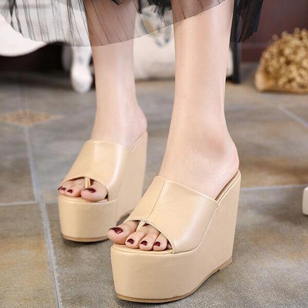 zapatos SLIPPERS SABOT WEDGE HEEL SANDALS 13 cm Beige High Stylish cw879