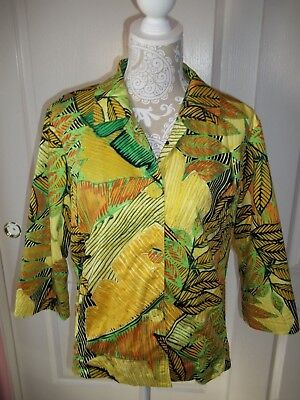 Clothing, Shoes & Accessories Diplomatic Chico's 3/4 Sleeve Multi-colored Embellished Leaf Print Lined Blazer Women's Clothing Size 2