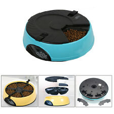 6 Meal Tray Programmable Timer Automatic Pet Dog Cat Feeder Water Tray Bowl Blue