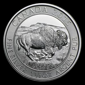 2015 Canada 1.25 oz .9999 Fine Silver Bison *BU* Canadian $8 Coin SKU160