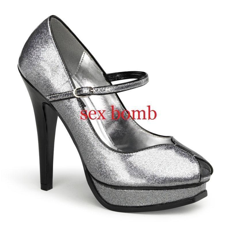 SEXY scarpe decolte spuntate glitter glitter glitter ARGENTO plateau tacco 13 DAL 35 AL 41 GLAM 2a1b73
