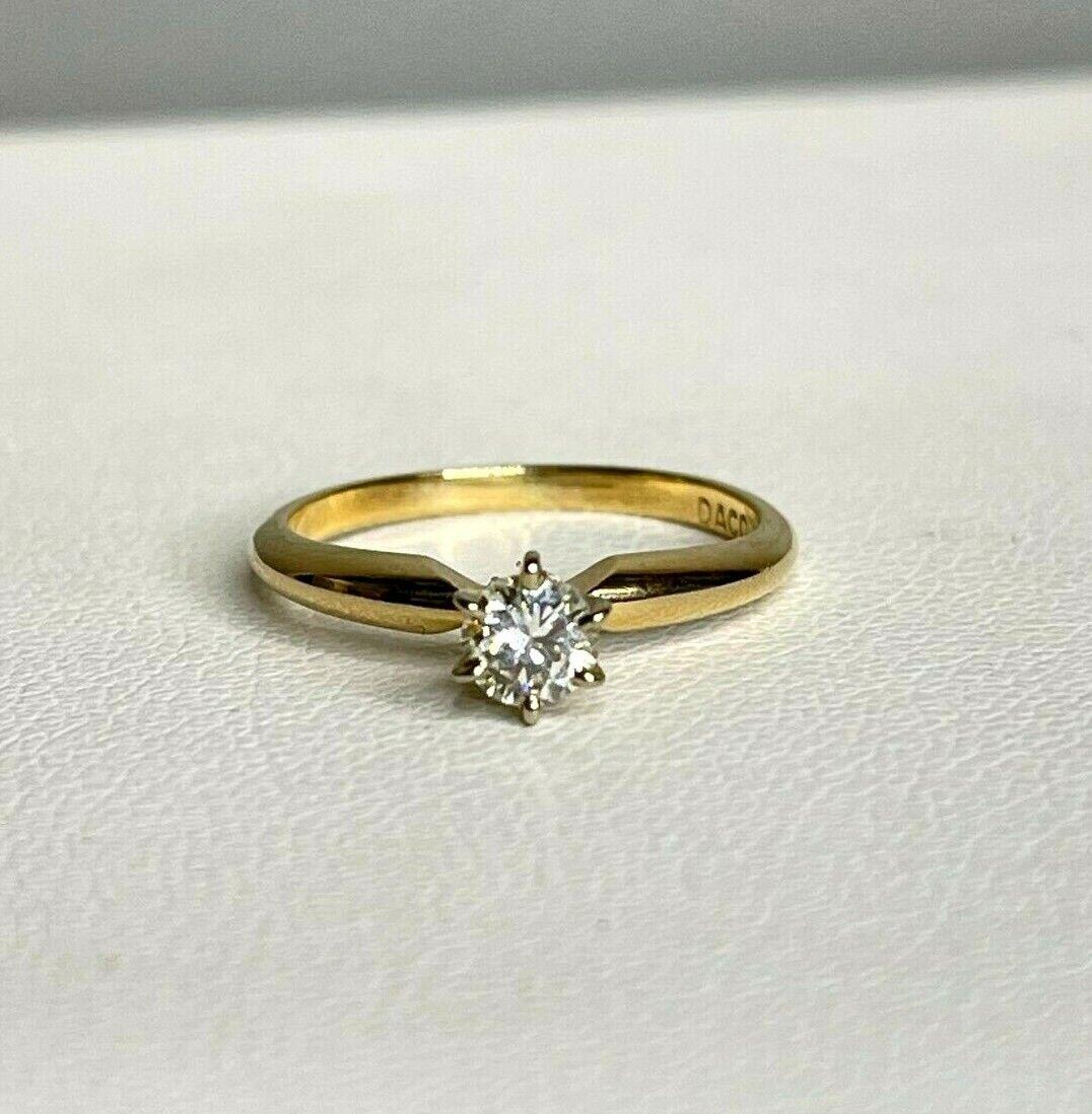 Vintage Signed DACO 14k Yellow Gold Diamond Solit… - image 2