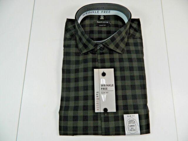 NWT NEW mens gray dark green VAN HEUSEN slim fit wrinkle free dress shirt $50