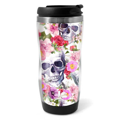 330ml Coffee Tea Kids Car Gift #13088 Flowery Sugar Skull Travel Mug Flask