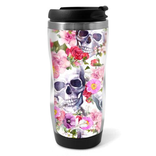330ml Coffee Tea Kids Car Gift #13088 Flowery Sugar Skull Travel Mug Flask