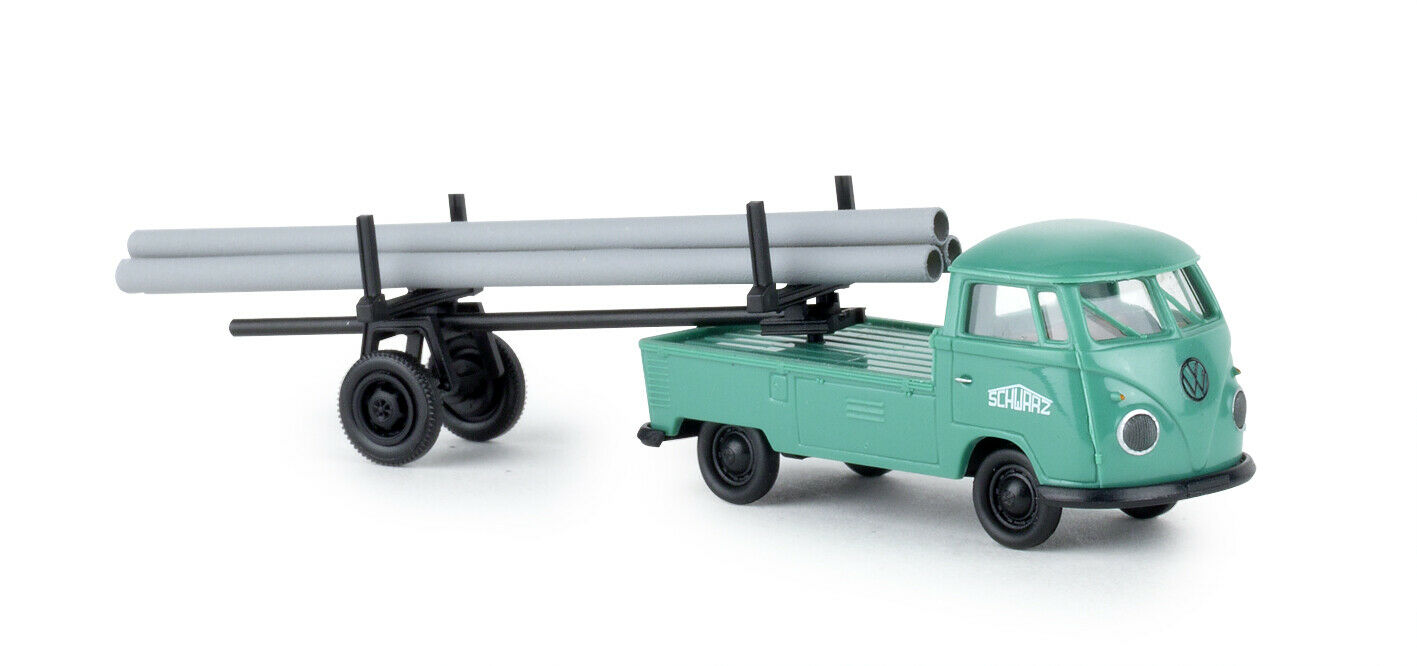 Brekina 32977 VW VW VW Flatbed T1b with Trailer   blackbau  , Car Model 1 87 (H0) f4515d