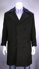 * LOUIS VUITTON* Brown Heavy 100% Cashmere w/ Astrakhan Collar 3B DB Overcoat 44