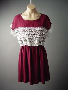 Victorian-Doll-Tiered-Embroidered-Lace-Ruffle-Burgundy-A-Line-131-mv-Dress-S-M