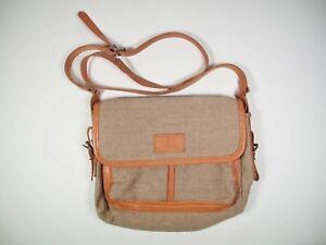 Details zu canvas leinen leder tasche schultertasche Umhängetasche