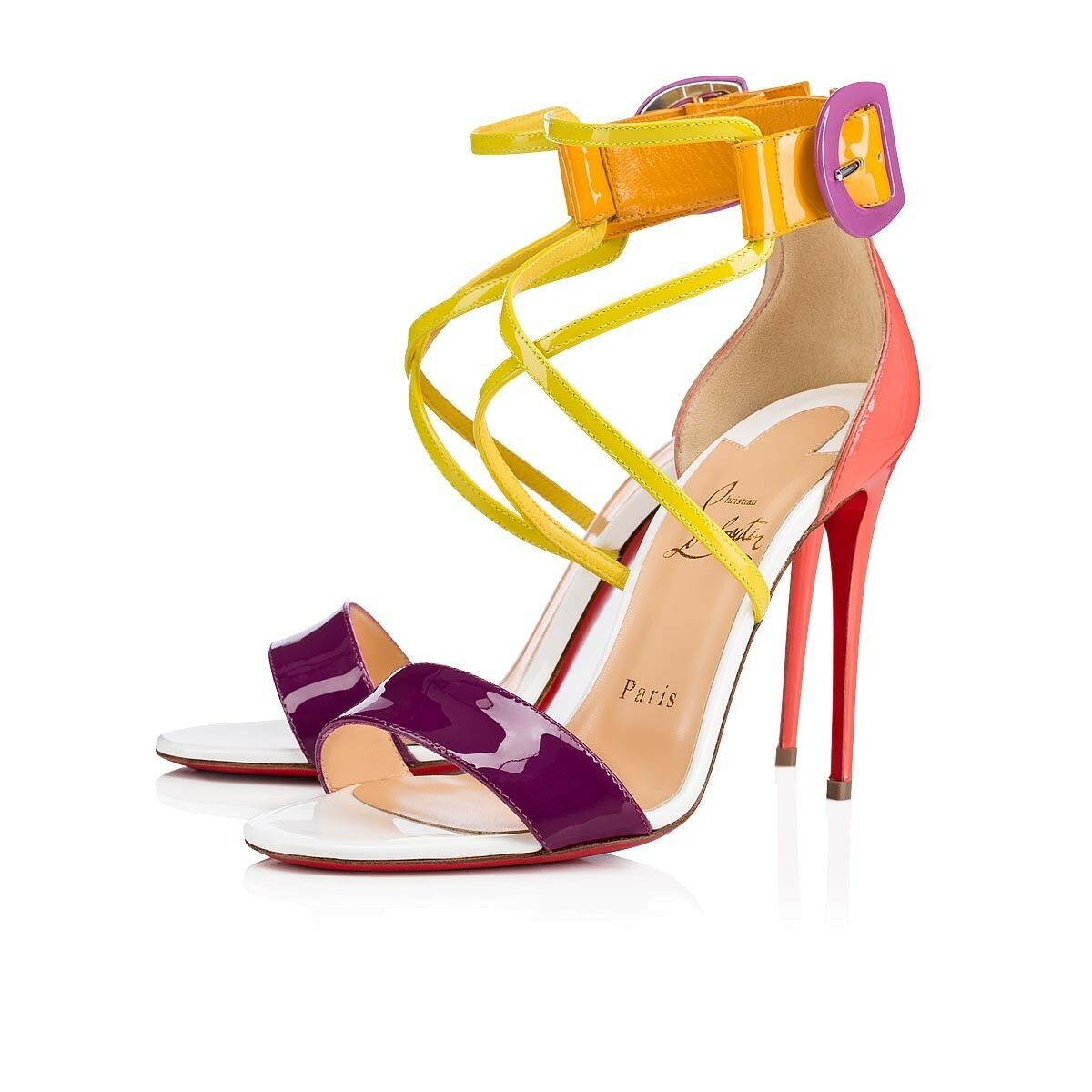 NIB Christian Louboutin Choca 100 Patent Criss Cross Strap Sandal Heel Pump 36.5
