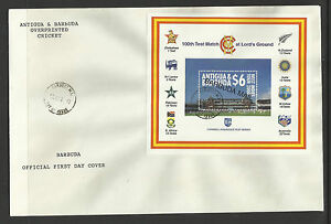 BARBUDA-MAIL-OPT-2000-LORD-039-S-CRICKET-100th-CENTENARY-TEST-MATCH-Souv-Sheet-FDC