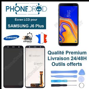 Ecran-complet-LCD-Tactile-Samsung-J6-Plus-Noir-Outils-stock-FR