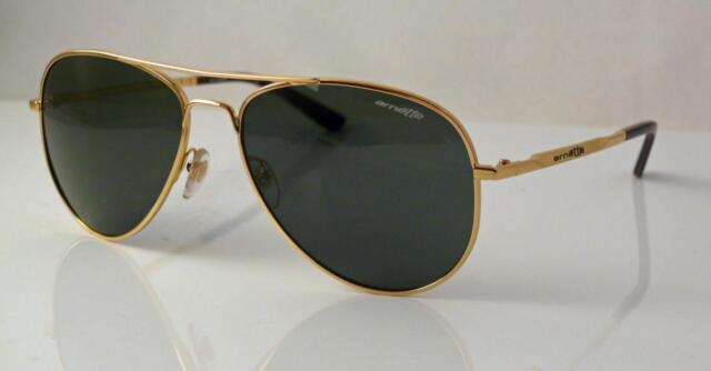 Arnette AN 3065-02 Trooper Polished Gold Grey Green Mens Sunglasses w Case .