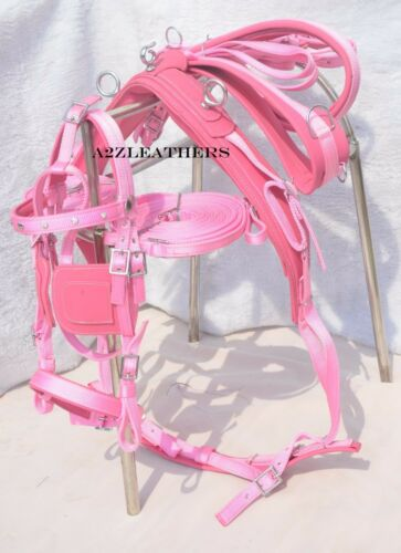 PINK NYLON DRIVING HARNESS FOR SINGLE HORSE with diamonte browband in bridle