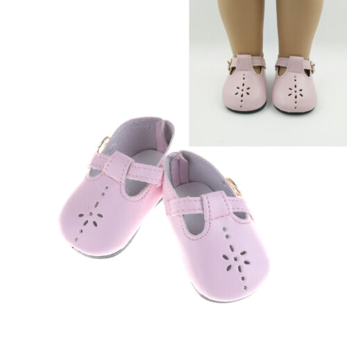1 Pair Pink Leather Doll Shoes for 18 inch  Girl Dolls 43Cm  Baby Jh