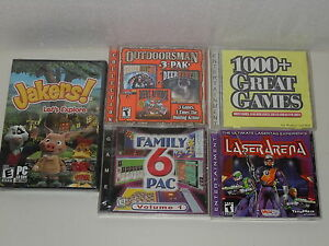 PC Computer Video Game lot 5 Deer Hunt 3-D, 1000 Great, 6 Pac, Jakers, Laser tag