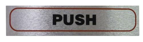 "/""PUSH/"" Horizontal Sign High Quality Brushed Metallic Self Adhesive Material"