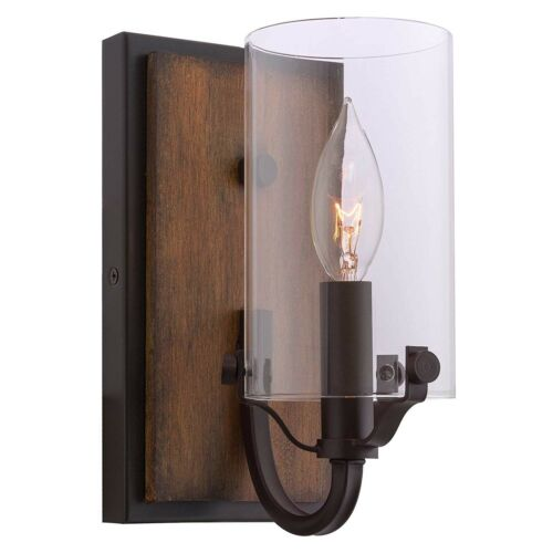 "Oil ... Kira Home Aspen 9/"" Transitional Wall Sconce Clear Glass Cylinder Shade"