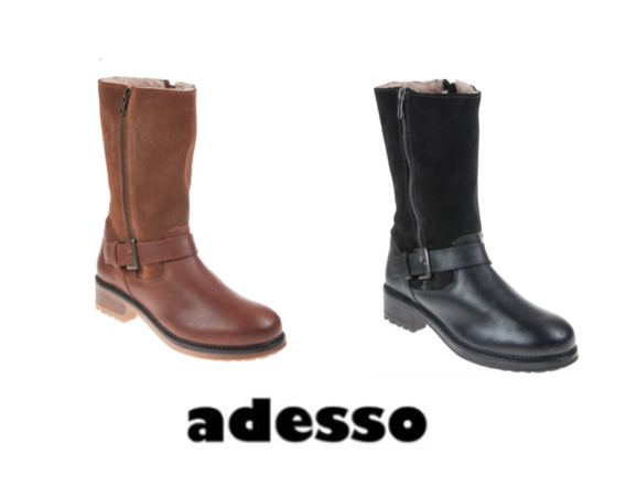 Adesso Jess Fleece Lined Biker Style Dual Zip Leather Stiefel With Comfort Insole