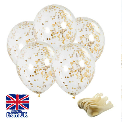 Gold Confetti Balloons Party Golden Romantic Wedding Decoration Birthday Helium