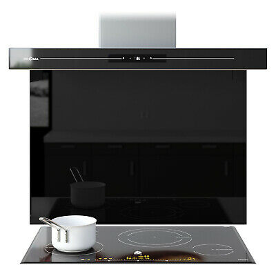 Black Splashback Toughened Glass Panel Kitchen /& Bathroom 83 Sizes 45 colours