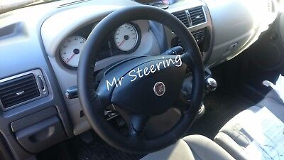 GREY STRAP FOR FIAT CROMA MK2 2004-2007 PERFORATED LEATHER STEERING WHEEL COVER